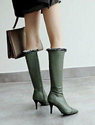 cheap -Women's Boots Stiletto Heel Pointed Toe PU Knee High Boots Winter Black / White / Green