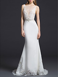 cheap -Sheath / Column Scoop Neck Court Train Lace / Charmeuse Regular Straps Made-To-Measure Wedding Dresses with Lace Insert 2020