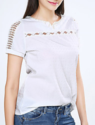 cheap -Women's Daily Weekend Blouse - Solid Colored Beaded V Neck White