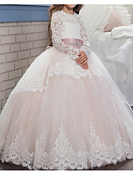 cheap -Ball Gown Floor Length Pageant Flower Girl Dresses - Polyester Long Sleeve Jewel Neck with Lace / Tier