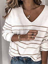 Недорогие -Жен. Однотонный Длинный рукав Пуловер Свитер джемпер, V-образный вырез Черный / Белый / Лиловый S / M / L