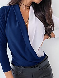 cheap -Women's Daily Shirt - Color Block V Neck Black