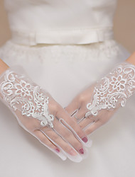 cheap -Lace / Polyester Wrist Length Glove Lace / Gloves With Embroidery