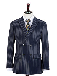 cheap -Midnight Blue Stripe Double Breasted Wool Custom Suit