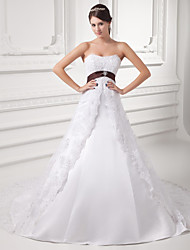 cheap -A-Line Strapless Chapel Train Lace / Satin / Tulle Strapless Wedding Dresses with Sashes / Ribbons / Bow(s) / Beading 2020