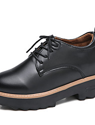 cheap -Women's Oxfords Low Heel Round Toe PU Casual / British Walking Shoes Spring / Fall & Winter Black