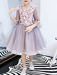 cheap -A-Line Knee Length Flower Girl Dress - Polyester 3/4 Length Sleeve Jewel Neck with Beading / Appliques