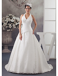 cheap -A-Line Halter Neck Court Train Lace / Satin Spaghetti Strap Made-To-Measure Wedding Dresses with Ruched 2020