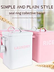 abordables -récipient de boîte de stockage de nourriture de riz de poudre de blanchisserie de fer en métal galvanisé avec la tasse pour la maison et la cuisine