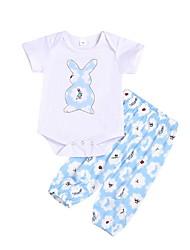 baratos -bebê Para Meninas Moda de Rua Estampado Manga Longa Padrão Conjunto Azul Claro