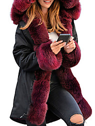 cheap -Women's Daily Winter Long Faux Fur Coat, Solid Colored Hooded Long Sleeve Polyester Black / Wine / Camel