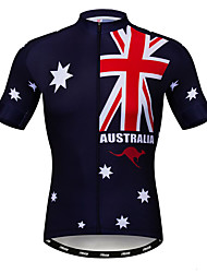 cheap -21Grams Men's Short Sleeve Cycling Jersey Elastane Red+Blue Australia National Flag Bike Breathable Quick Dry Moisture Wicking Sports Australia Mountain Bike MTB Road Bike Cycling Clothing Apparel