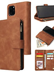 cheap -Case For Apple iPhone 11 / iPhone 11 Pro / iPhone 11 Pro Max Wallet / Card Holder / Shockproof Full Body Cases Solid Colored PU Leather / TPU