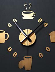 Недорогие -Мода кофе в зернах номера настенные часы сделай сам прекрасный чашка кофе акриловые настенные часы стикер дома кафе росписи наклейки декор