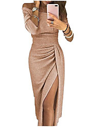 cheap -Sheath / Column Sexy Furcal Holiday Cocktail Party Dress Off Shoulder 3/4 Length Sleeve Ankle Length Nylon Cotton Blend with Split Front 2020