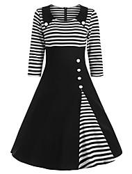 cheap -Women's Wine Black Dress Elegant Sophisticated Dress A Line Striped Peter Pan Collar Patchwork S M / Cotton
