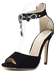 cheap -Women's Heels Stiletto Heel Peep Toe Pearl Synthetics British / Minimalism Fall / Spring & Summer Black / Party & Evening