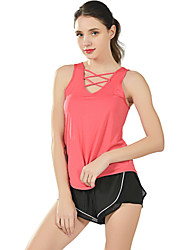 cheap -Women's Yoga Top Criss Cross Front Fashion Black Watermelon Red White Purple Running Fitness Gym Workout Vest / Gilet Tank Top Sleeveless Sport Activewear Breathable Moisture Wicking Quick Dry Soft