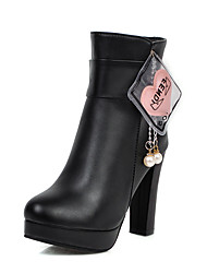cheap -Women's Boots Chunky Heel Round Toe PU Booties / Ankle Boots Casual / British Fall & Winter Black / White / Pink