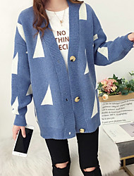 cheap -Women's Solid Colored Long Sleeve Cardigan Sweater Jumper, V Neck White / Blushing Pink / Blue One-Size