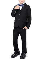 cheap -Black / Burgundy / Dark Navy Polyester Ring Bearer Suit - 1 Piece Includes  Coat / Vest / Pants