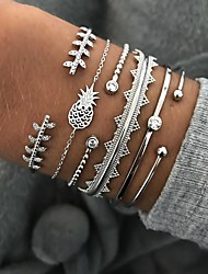 cheap -6pcs Women's Crystal Bracelet Bangles Cuff Bracelet Silver Bracelets Classic Leaf Pineapple Wave Statement Fashion Punk European Trendy Rhinestone Bracelet Jewelry Silver For Party Street Gift
