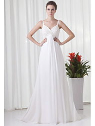 cheap -A-Line Wedding Dresses V Neck Court Train Chiffon Satin Spaghetti Strap with Beading Appliques 2020