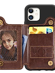 cheap -Case For Apple iPhone 11 / iPhone 11 Pro / iPhone 11 Pro Max Card Holder / with Stand / Ultra-thin Back Cover Solid Colored PU Leather / TPU