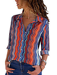 cheap -Women's Daily Shirt - Striped Shirt Collar Black