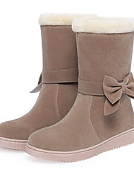 cheap -Women's Boots Flat Heel Round Toe Bowknot Suede Mid-Calf Boots Sweet / Preppy Fall & Winter Black / Dark Red / Khaki