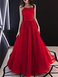 cheap -A-Line Elegant Red Prom Formal Evening Dress Spaghetti Strap Sleeveless Floor Length Tulle with Bow(s) 2020