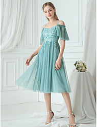 cheap -A-Line Spaghetti Strap Knee Length Tulle Bridesmaid Dress with Pleats / Ruching