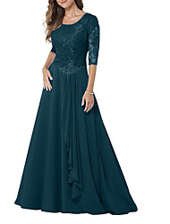 cheap -A-Line Jewel Neck Floor Length Chiffon / Lace Half Sleeve Elegant & Luxurious Mother of the Bride Dress with Beading / Ruching 2020 / Bell Sleeve