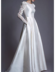 cheap -A-Line Jewel Neck Floor Length Lace / Charmeuse Long Sleeve Simple Modern Wedding Dresses with Lace / Draping / Appliques 2020