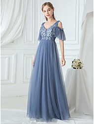 cheap -A-Line Elegant & Luxurious Prom Dress V Neck Short Sleeve Floor Length Lace Tulle with Embroidery 2020