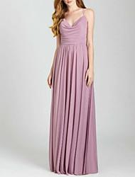 cheap -A-Line Spaghetti Strap Floor Length Chiffon Bridesmaid Dress with Ruching