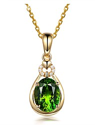 cheap -Gold Color CZ Green Crystal Pendant Necklace Chokers for Women Drop Shipping Womens Jewelry Waterdrop Heart Gift
