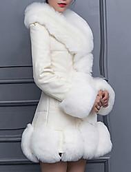 abordables -Femme Sortie Hiver Longue Manteau en Fourrure, Couleur Pleine Col Roulé Manches Longues Fausse Fourrure Noir / Blanche