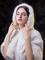 cheap -Sleeveless Capelets Faux Fur Wedding / Party / Evening Women's Wrap With Cap