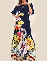 cheap -Women's Basic Maxi Swing Dress - Floral Print Off Shoulder Navy Blue S M L XL