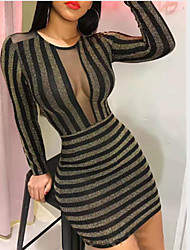 cheap -Women's Bodycon Dress - Striped Gold S M L XL