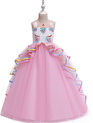 Недорогие -Дети Девочки Контрастных цветов Без рукавов Средней длины Платье Лиловый
