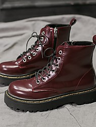 cheap -Women's Boots Flat Heel Round Toe PU Mid-Calf Boots Fall & Winter Black / Burgundy