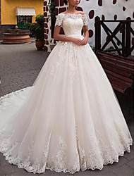 cheap -A-Line Off Shoulder Chapel Train Tulle Short Sleeve Wedding Dresses with Lace 2020
