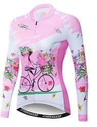 abordables -21Grams Floral Botanique Femme Manches Longues Maillot Velo Cyclisme - Rose Vélo Maillot Hauts / Top Résistant aux UV Respirable Evacuation de l'humidité Des sports Hiver Toison Polyester Elasthanne