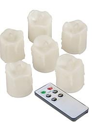 Недорогие -6 шт. 4 * 5 см пластиковые беспламенные светодиодные обету свечи на батарейках электрический чай с каплями реалистичные мерцающее пламя с пультом дистанционного управления и таймер на Рождество