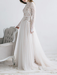 cheap -A-Line High Neck Sweep / Brush Train Tulle Long Sleeve Formal Illusion Detail Made-To-Measure Wedding Dresses with Appliques 2020