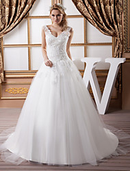 cheap -A-Line Wedding Dresses V Neck Court Train Lace Satin Tulle Spaghetti Strap with Beading Draping Appliques 2020