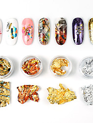 cheap -12 Jars 4 Colors Gold Silver Irregular Aluminum Foil Paper Nail Art Sticker 3D Glitter DIY Manicure UV Gel Polish Nail Decoration Tools