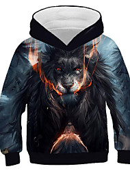cheap -Kids Boys' Active Punk & Gothic Lion Color Block 3D Animal Long Sleeve Hoodie & Sweatshirt Blue